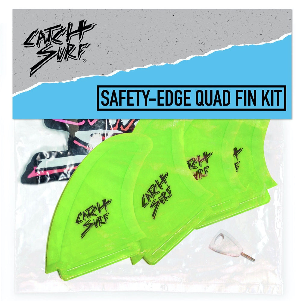 Catch Surf Fins - Hi-Perf Safety Edge: Quad Fin Set Lime - Surf Ontario
