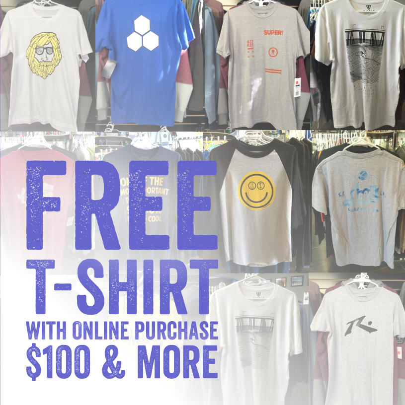 Free T-shirt with purchase of $100 & more