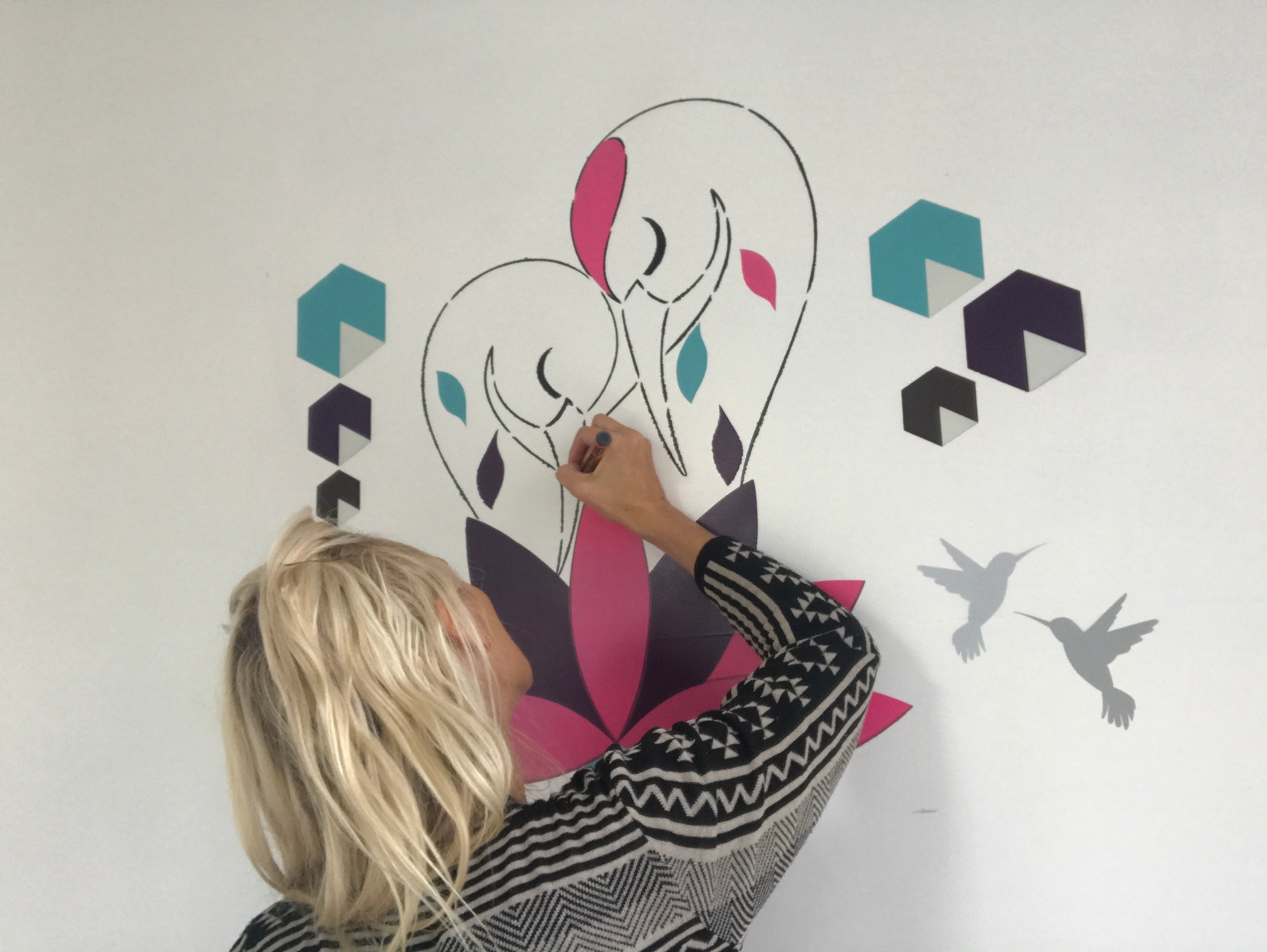 Ema Frost Mural in Progress Shot