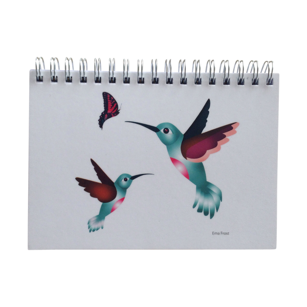 Ema Frost Spiral Notebook - Hummingbirds