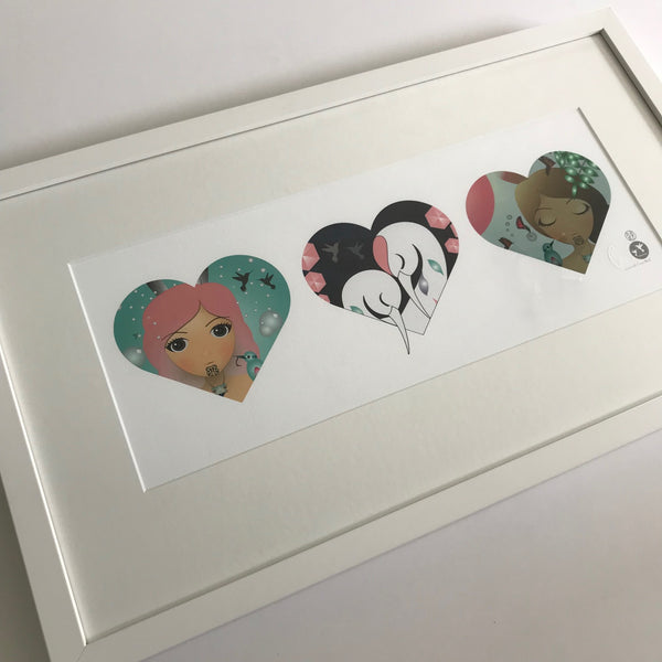 3 x Heart Series - Framed