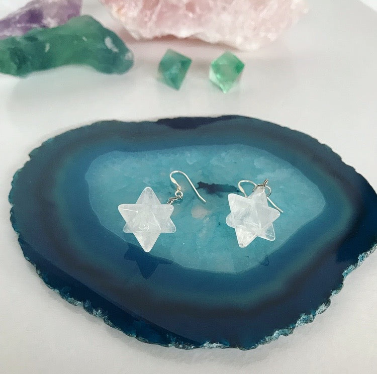 Frosty Star Cluster Earrings - Clear Quartz