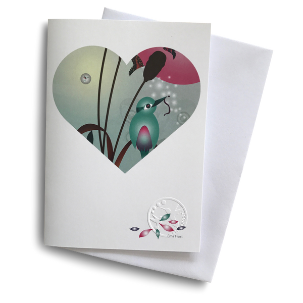 Gift Card - Heart Series: Kingfisher/Kotare