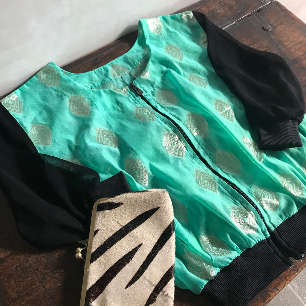 Jacket / Bomber Style // Green Silver