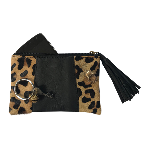 Leather Purse // Leopard Black