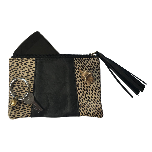 Leather Purse // Leopard Black Small Spots