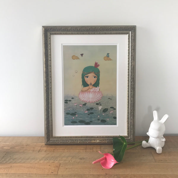 Moana & The Lotus Flower, Ornate Gold - Framed