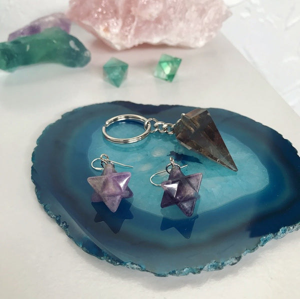 Frosty Star Cluster Earrings - Amethyst