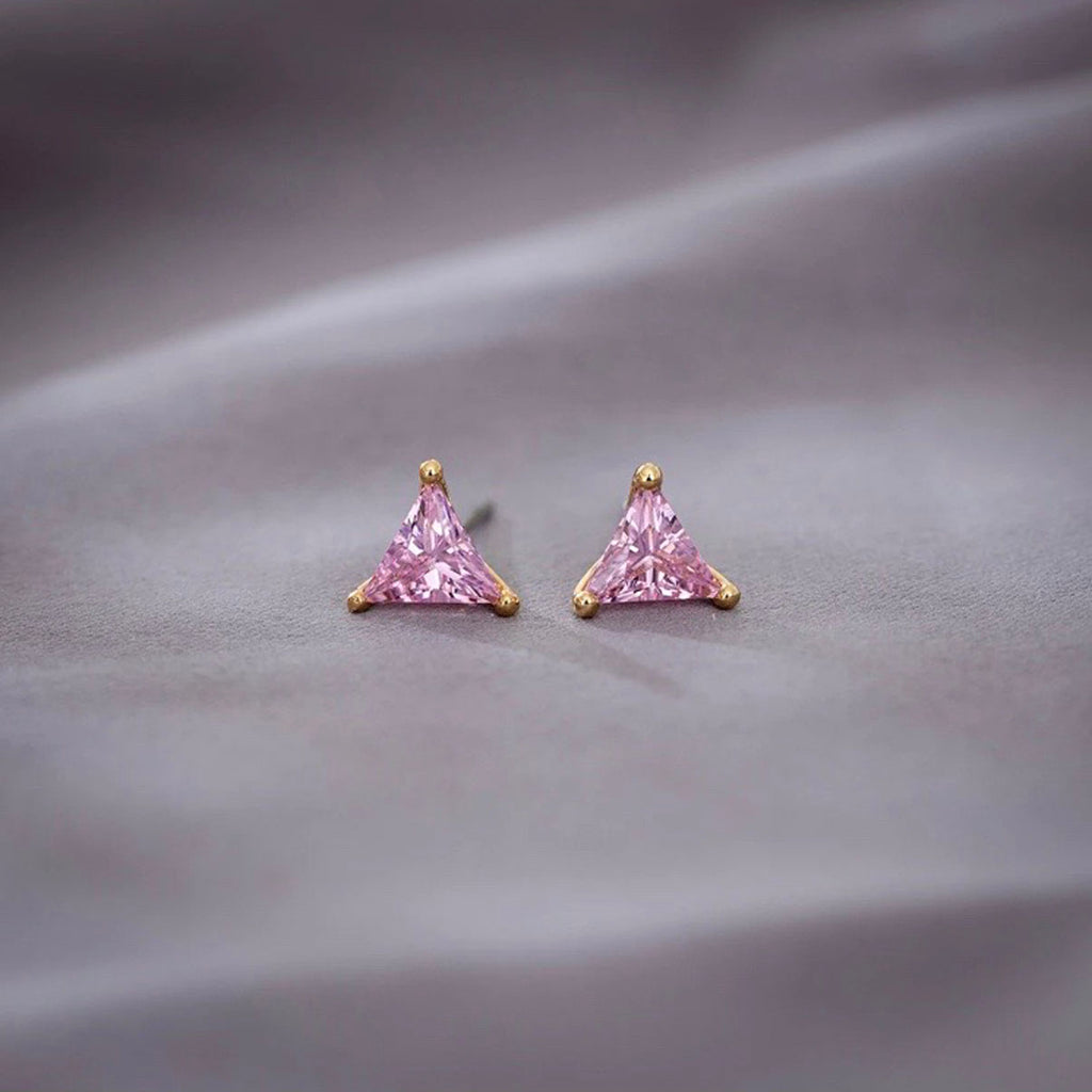 Triangle Pink Gold Earrings