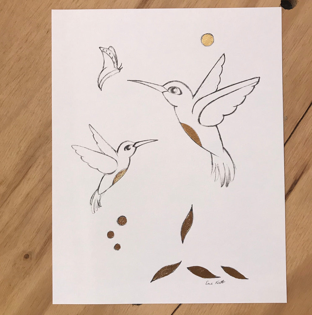 Sketch Hummingbird, Gold