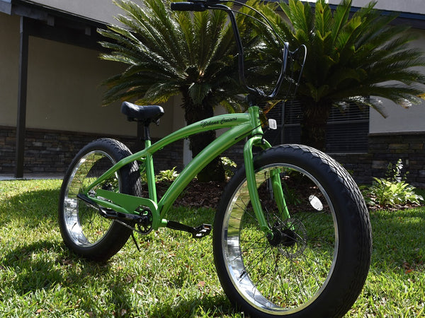 We manufacture New design Quality Mens and ladies 3 Speed Fat Tire Beach Cruiser, Single Speed Fat Tire Cruisers, Fat Tire Bikes and custom beach cruisers. Locations in Arizona and Florida.