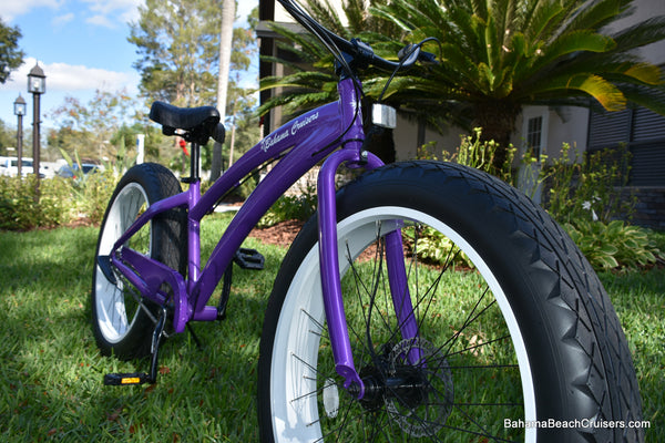 3 SPEED CUSTOM BEACH CRUISER | Purple Frame/White Wheels