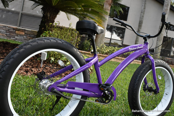 3 SPEED ALUMINUM CUSTOM BEACH CRUISER | Purple Frame/White Wheels