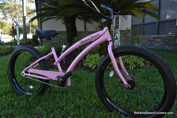 Single Speed fat tire beach cruiser bicycle Pink Diamond Frame/Black Wheels