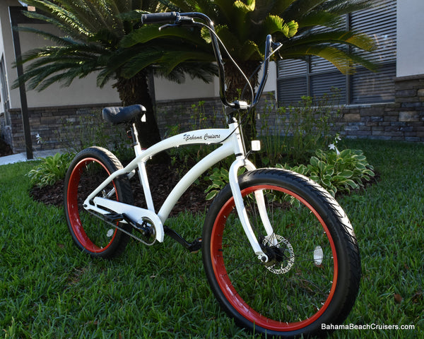 Single Speed Fat Tire Beach Cruiser Bicycle 3.0 Wide Ride Satin Black Frame/Red Wheels White Frame/Viper Red Wheels