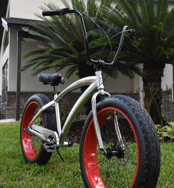 3 SPEED FAT TIRE CRUISERS | Polished Aluminum Frame/Viper Red Wheels