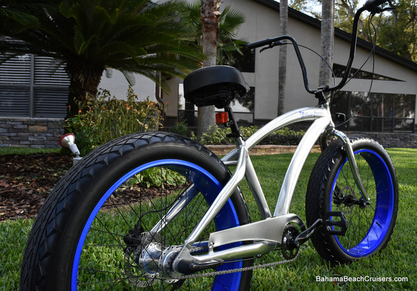 3 SPEED FAT TIRE BEACH CRUISER | Polished Aluminum Frame/Cobalt Blue Wheels