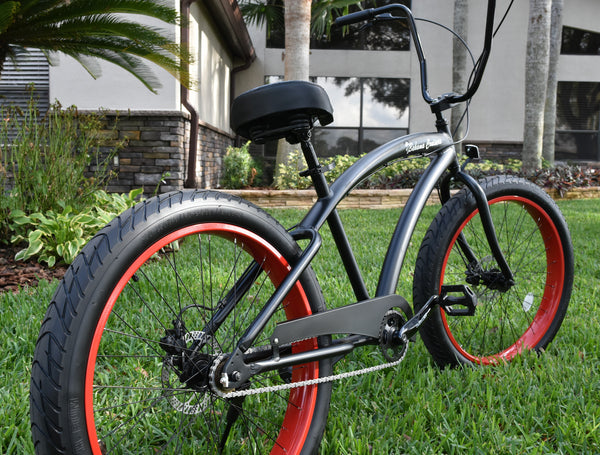Single Speed Fat Tire 3.0 Wide Ride Beach Cruiser Satin Black Frame/Red Wheels