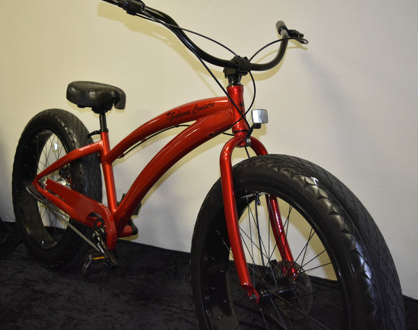3 SPEED ALUMINUM FAT TIRE BEACH CRUISERS | Candy Apple Red Frame/Black Wheels