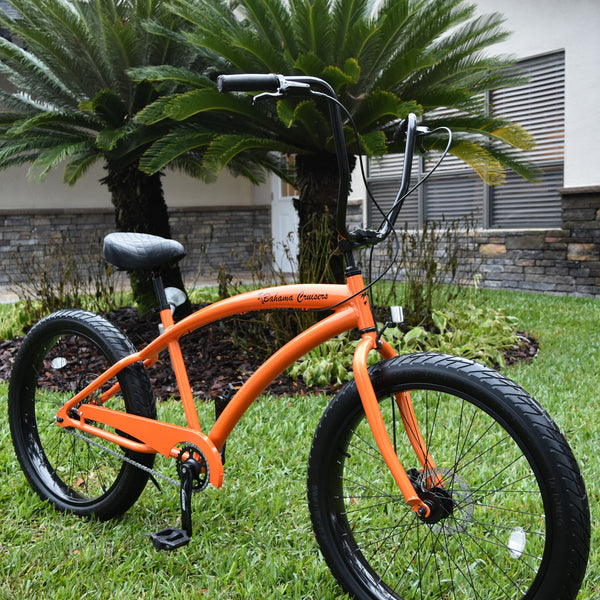 3.0 Wide Ride Fat Tire Cruiser | Orange Frame/Black  Wheels