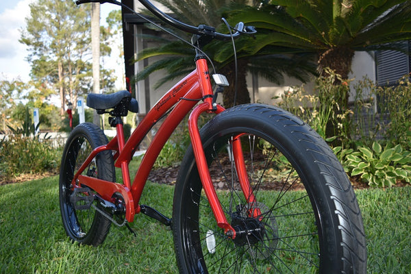 New Single Speed Custom Beach Cruisers 3.0 Wide Ride Candy Apple Red Frame and Wheels