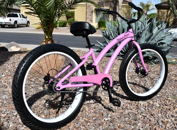 Single Speed fat tire beach cruiser bicycle Pink Diamond Frame/White Wheels