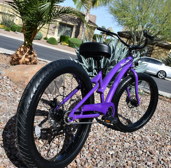 Single Speed Beach Cruiser Purple Frame/Black Wheels