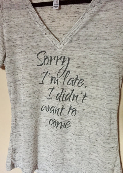 Super Soft Deep V-Neck Marled Grey and White T-Shirt