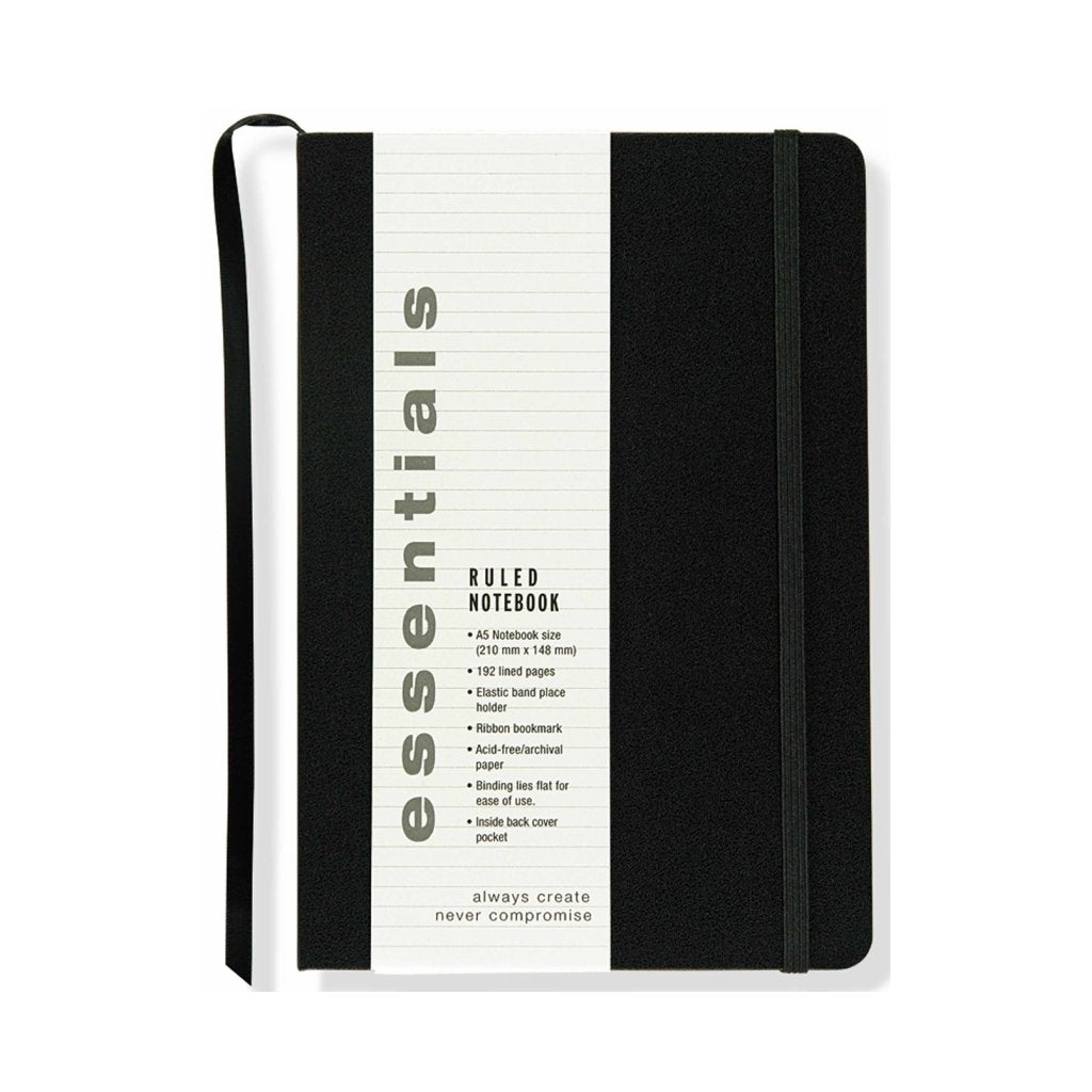 Libreta con banda elástica Essentials Black Rules