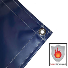 vinyl tarp, cover, blue, fire retardant