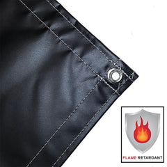 vinyl tarp, cover, black, fire retardant