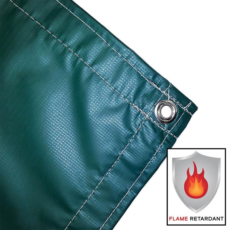 vinyl tarp, cover, green, fire retardant