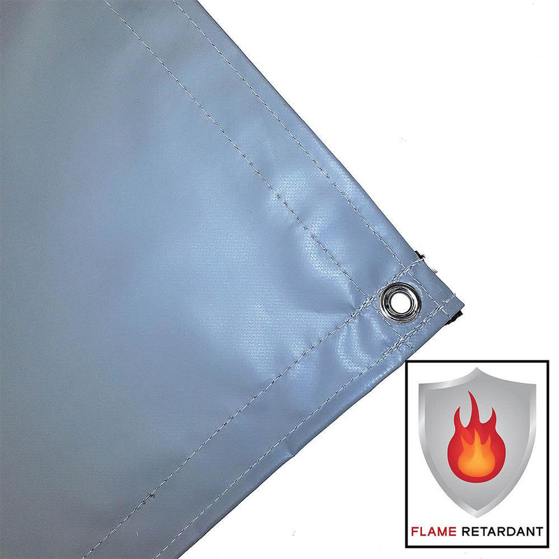 vinyl tarp, cover, gray, fire retardant