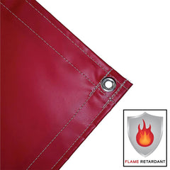 vinyl tarp, cover, red, fire retardant