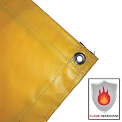 vinyl tarp, cover, yellow, fire retardant