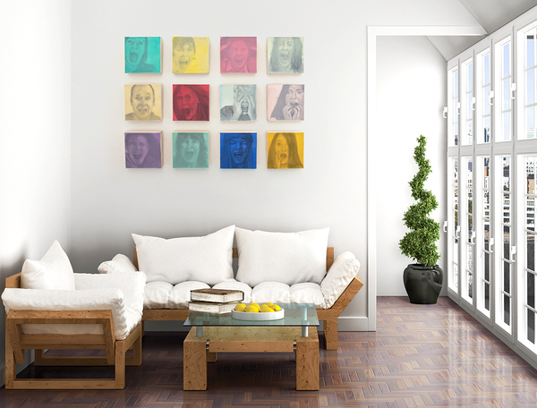 how to hang artwork in a grid