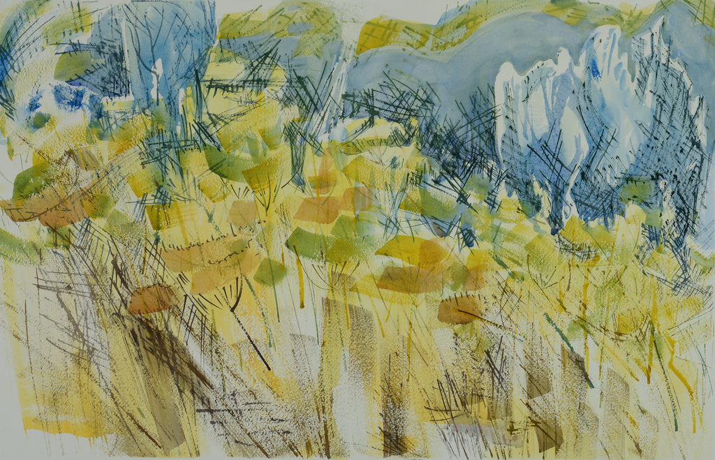 Watercolor landscape of a yellow field by Alix Hallman Travis.
