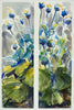 Watercolor diptych of blue poppies by Alix Hallman Travis.