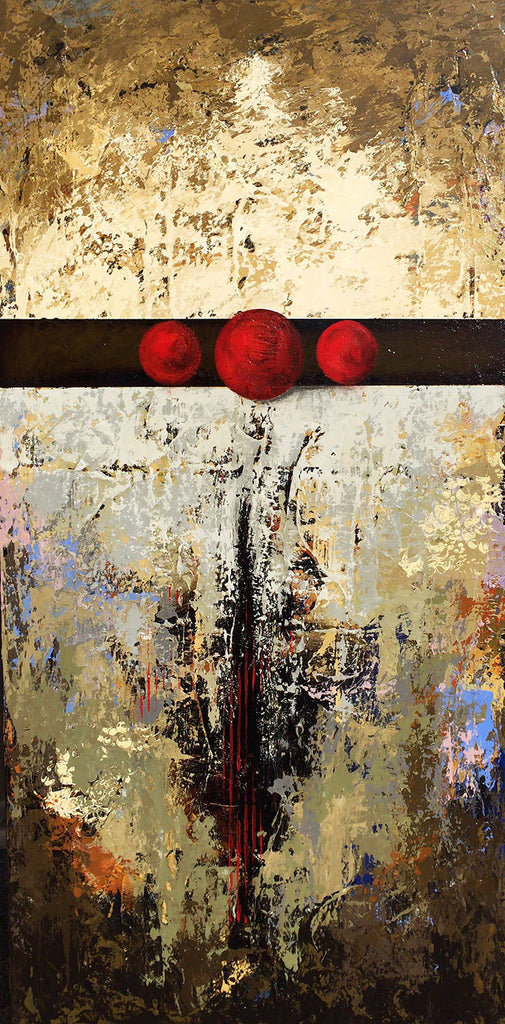 3 Wishes Red I / 24 x 48 / roofing tar, plaster, acrylic paint on wood panel
