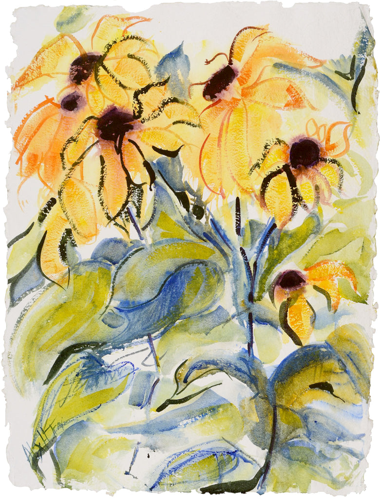 Watercolor painting of yellow sunflowers by Alix Hallman Travis.