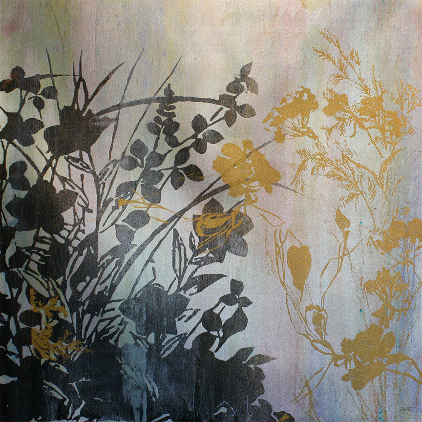 Painting on canvas featuring layers of black and gold leaf silhouettes. Original art for sale by ADC Fine Art.