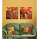 Set of 2 abstract floral designs on giclee print. Features red and warm tones and silhouettes of botanic elements.