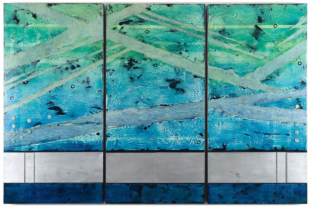 Archilochus View / 72 x 48 x 2.5 / oil glazes - marble dust - metal on wood