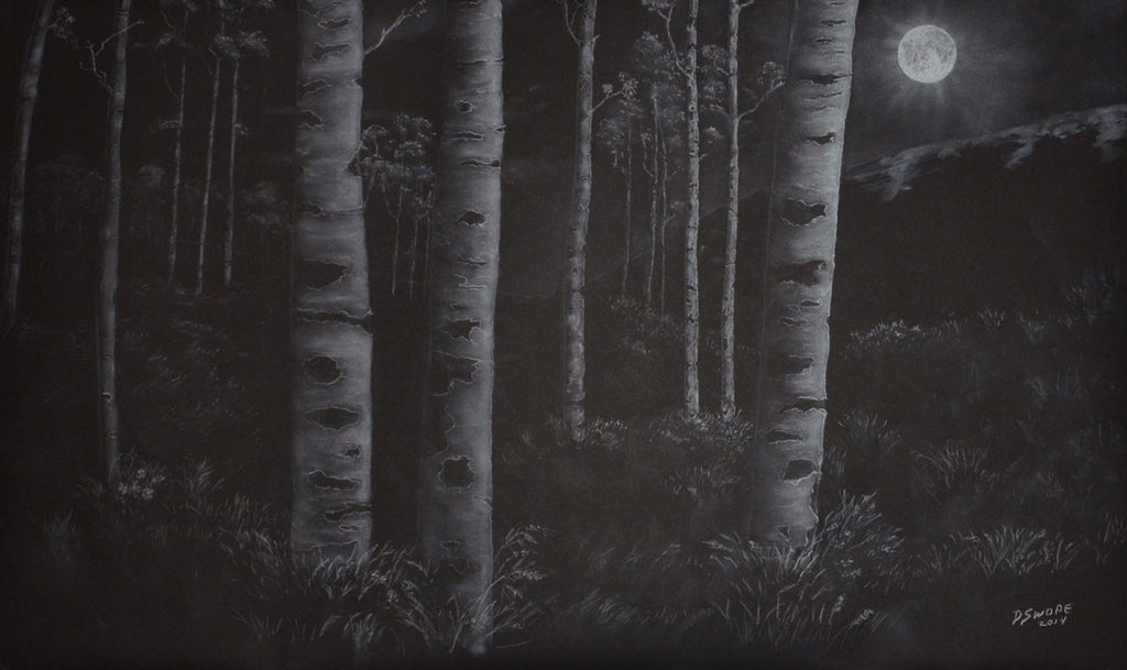 Aspens in the Moonlight / 59 x 36 / chalk on paper