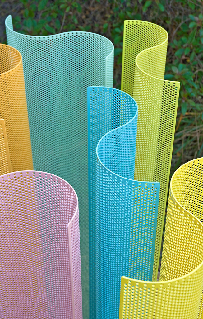 Color Field Sculpture in the Garden - detail / 5' x 8.5' x 5' / powder coated perforated aluminum
