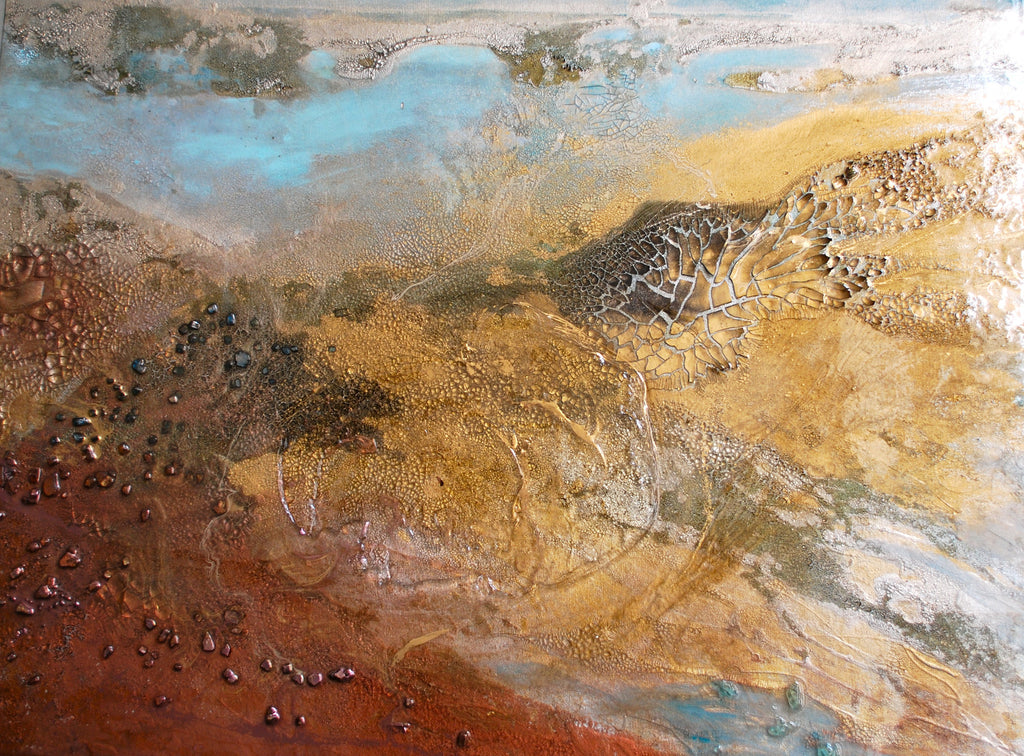Earthly Conversation / 40 x 30 / mixed media on canvas with metallic powders - glass and resin