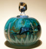 Lidded Turquoise Blue Glass Jar
