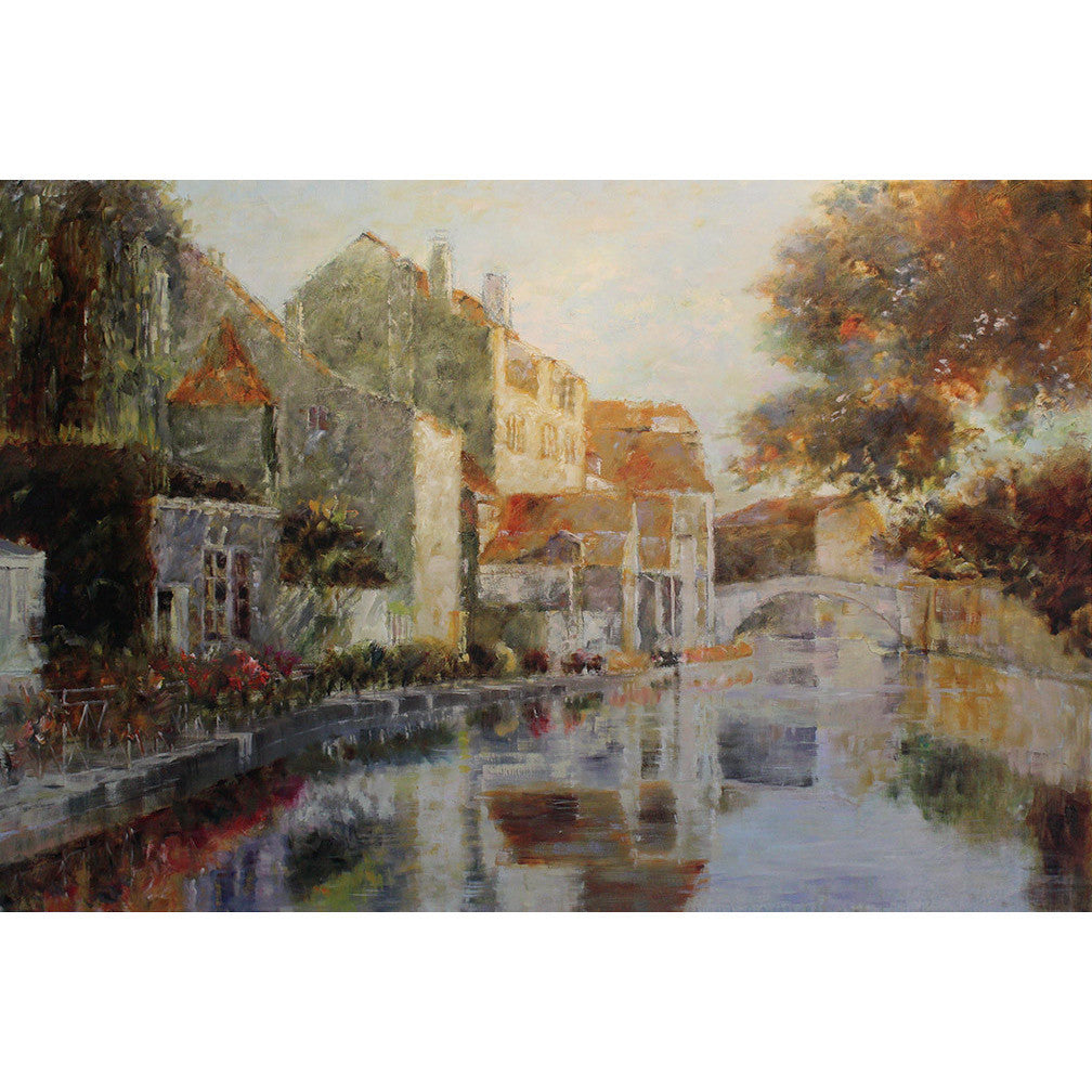 Impressionist giclee print featuring a town on a riverbank. Original art for sale by ADC Fine Art.