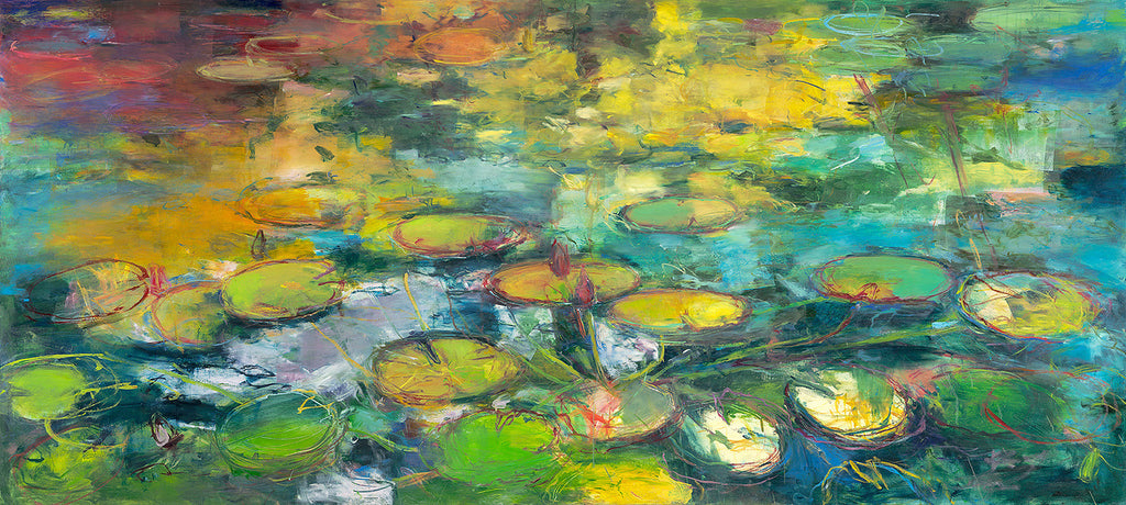 Indigo Pond / 36x80 / oil on panel