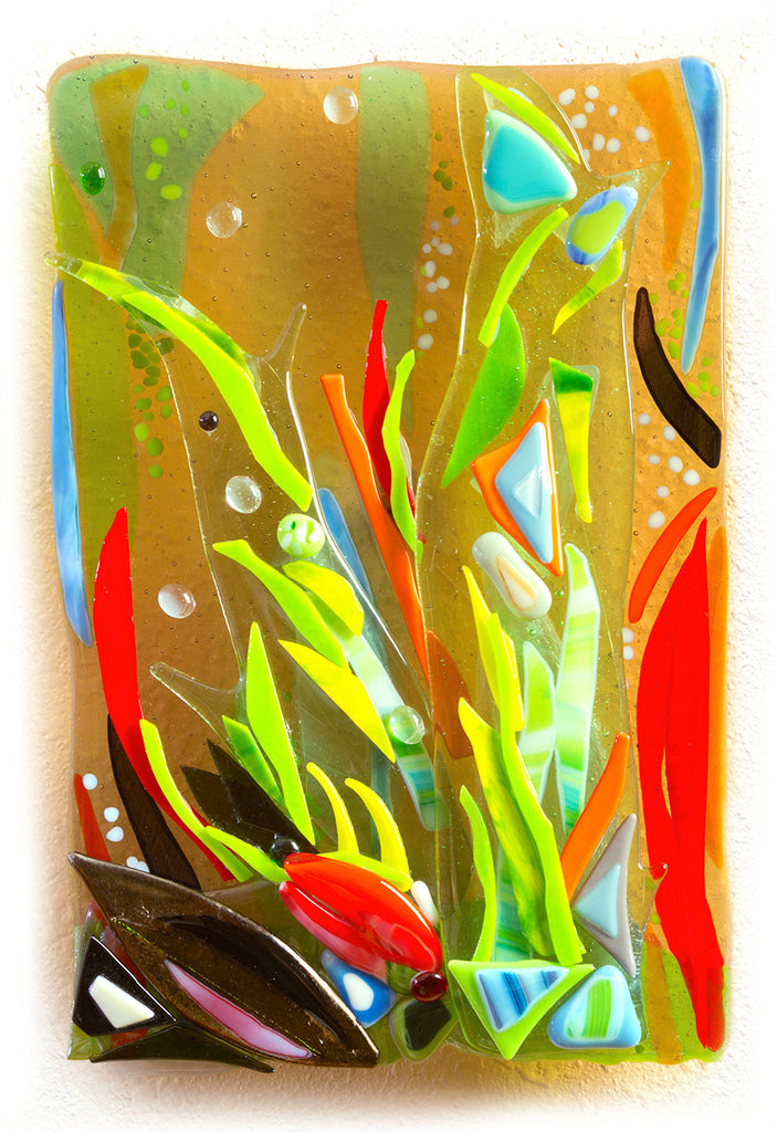 Life on a Coral Reef, fused glass wall sculpture by Barbara Westfall